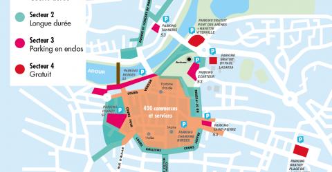 Plan des zones de stationnement à Dax. Secteur 1, 2, 3 et 4, pour s'adapter à tous les usages et permettre la rotation des véhicules.